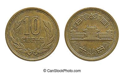 10, japanska yen, mynt, isolerat, vita, med, snabb bana