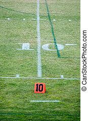10, jarda, dez, campo futebol americano, linha