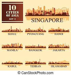 10, jogo, ilustração, vetorial, asiático, cidades