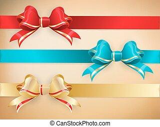10, jogo, presente, eps, arcos, ribbons.