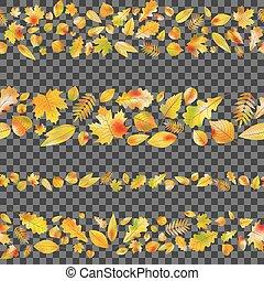 10, jogo, seamless, leaves., outono, vetorial, fronteiras, eps