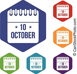 10, kalender, oktober, sätta, ikonen