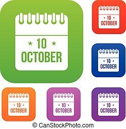 10, kalender, oktober, sätta, kollektion