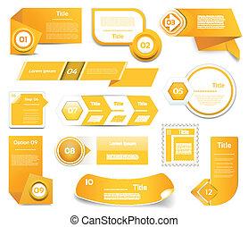 10, komplet, eps, icons., pomarańcza, krok, wektor, postęp, ...
