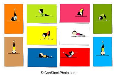 10, kvinna, öva, yoga, design, kort, din