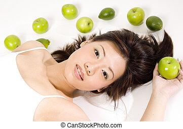 10, leány, gyümölcs