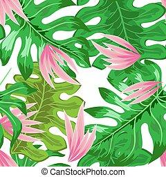 10., liście, seamless, ilustracja, eps, tropikalny, wektor, kwiaty