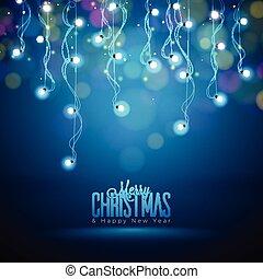 10, lichter, eps, abbildung, weihnachten, dunkel, hintergrund., hell, vektor, durchsichtig, design.