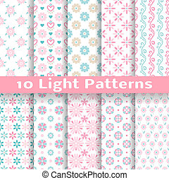Light floral romantic vector seamless patterns (tiling). -...