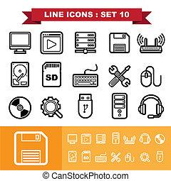 10, ligne, ensemble, icônes