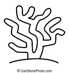 10, linéaire, sous-marin, modèle, corail, eps, océan, exotique, icône, vecteur, mince, graphiques, ligne, signe, fond blanc