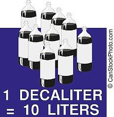 10 Liters sign estimated volumes 1 decaliter Vector symbol...