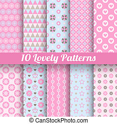 10 Lovely vector seamless patterns (tiling, with swatch). Retro pink and blue colors. Endless texture can be used for printing onto fabric and paper, scrap booking. Set of abstract pretty background