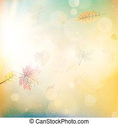 10, lumière, feuilles, eps, burst., automne