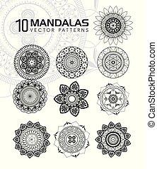 10 mandalas monochrome boho style set