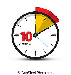 10 Minutes Clock Face. Vector Ten Minute Icon.