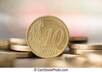 10, moeda,  closeup, centavo,  Euro