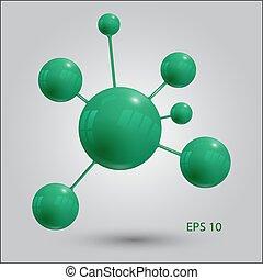 10, molekuła, eps, wektor, zielony, ikona