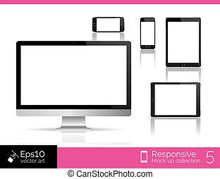 10, monitor, smartphone, tablette, isolierung, modern, eps, abbildung, edv, glänzend, mouse.