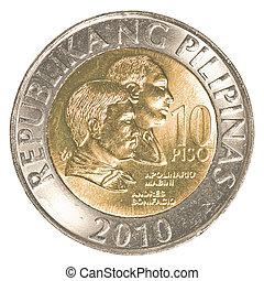 10, monnaie, philippine, peso