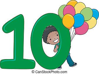 10, número, niño