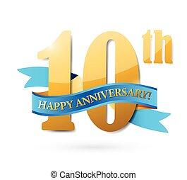 10, nastro, anniversario, illustrazione, segno