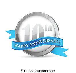 10, nastro, anniversario, illustrazione, sigillo