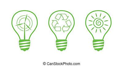 10, natura, -, icons., ambiente, parte, verde