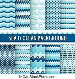 10, nautisk, seamless, hav, mönster