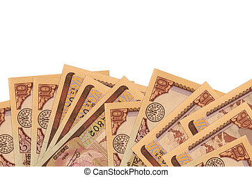 10 Nepalese rupees bills lies on bottom side of screen isolated on white background with copy space. Background banner template for business concepts with money