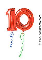 10, -, nombre, rouges, ballons, ruban