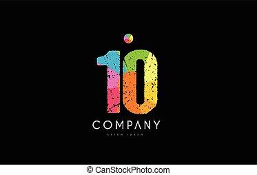 10 number grunge color rainbow numeral digit logo