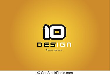 10 number numeral digit white on yellow background