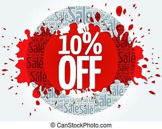 10% OFF circle stamp word cloud