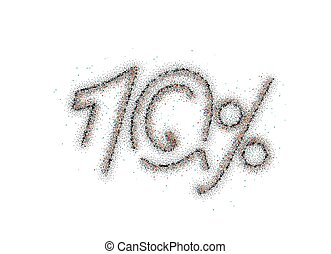 10% OFF Particle Sale Discount Banner. Discount offer price tag. Vector Illustration.