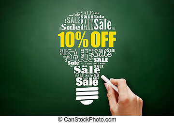 10% OFF Sale light bulb word cloud collage
