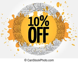 10% OFF stamp words cloud