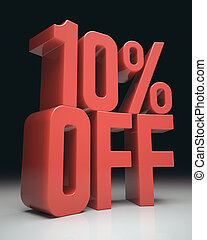 10% Off - 3D image concept. Discount percentage in red on...