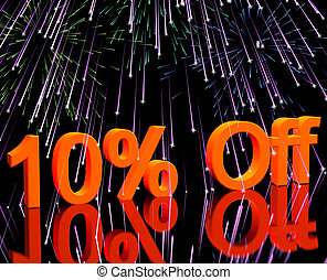 10% Off With Fireworks Showing Sale Discount Of Ten Percent...