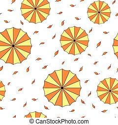 10, ombrello, modello, foglie, eps, seamless, autunno, vettore