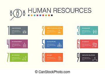 10, opzione, icone, hr, concept., riprendere, lavoro, outsourcing, infographic, intervista, umano, linea, direttore, risorse