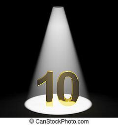 10, or, nombre, anniversaire, anniversaire, 10ème, représenter, ou, 3d