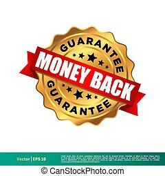 10., ouro, vetorial, selo, modelo, costas, dinheiro, design., selo, ilustração, eps, garantia
