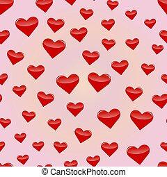 10, padrão, eps, ilustração, seamless, vetorial, hearts.