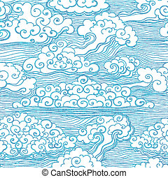10, padrão, seamless, clouds., vetorial, eps