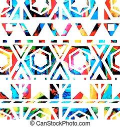 10, padrão, tribal, shapes., eps, seamless, vetorial, retro, geomã©´ricas, texture.