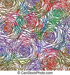 10, pattern., seamless, eps, agancsrózsák, vektor