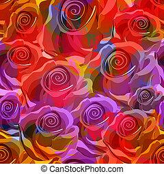 10, pattern., seamless, eps, rosen, vektor