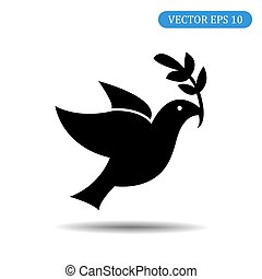 10, peace., symbole, eps, illustration, vecteur, icon., oiseau
