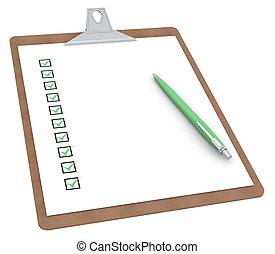 10, penna, skrivplatta, x, checklista